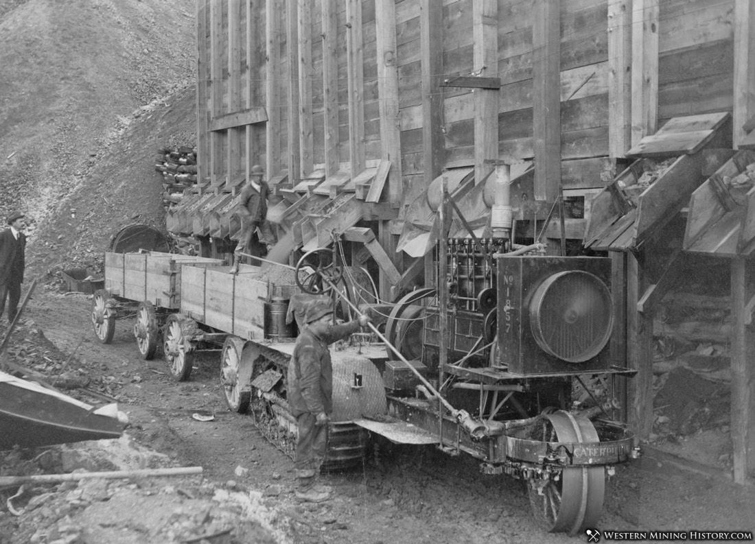 Caterpillar traction engine hauling lead ore from Tyler lease to Bunker Hill Mill - Wardner