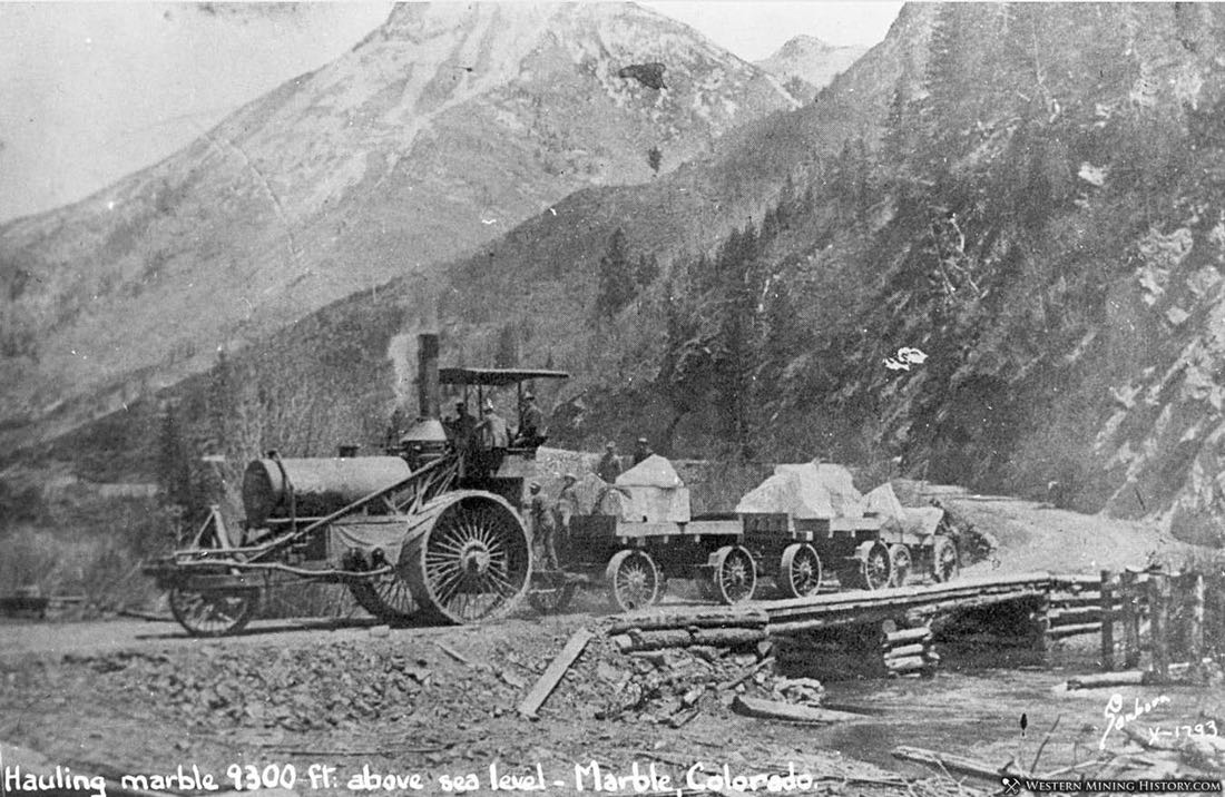 Hauling Marble Slabs to the Mill ca. 1910