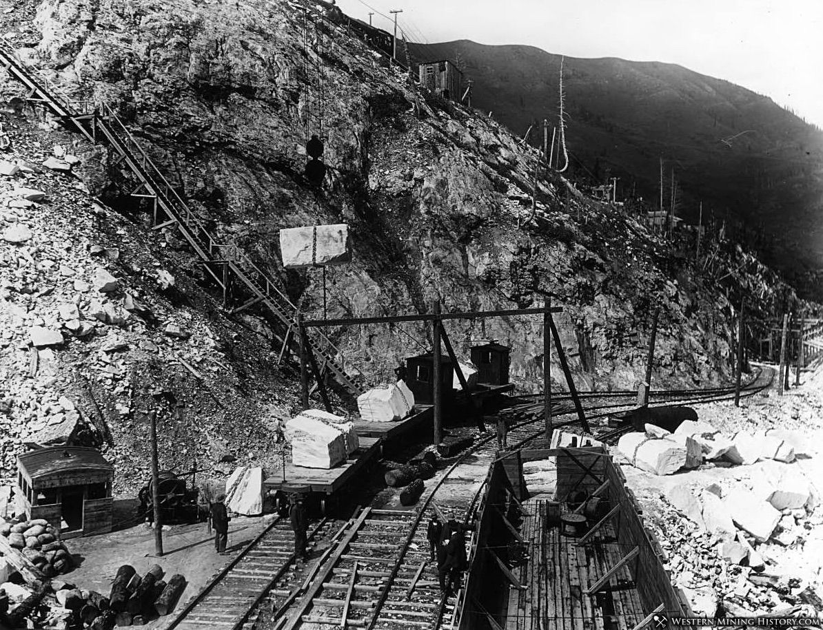 Loading Marble Slabs Onto The Electric Railway