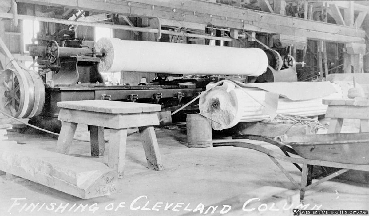 Marble columns being milled