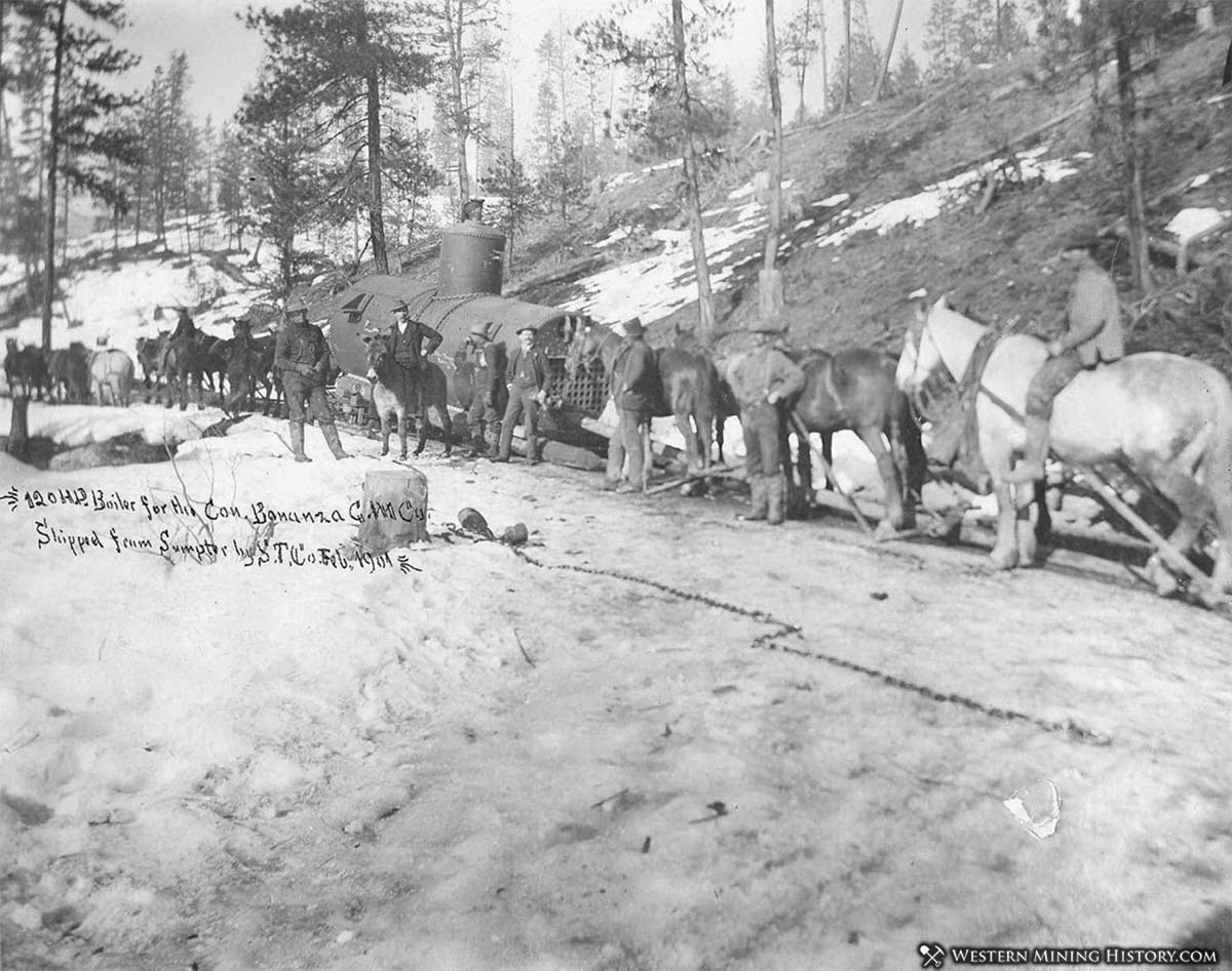 Boiler enroute to Bonanza Mine near Geenhorn City 1901