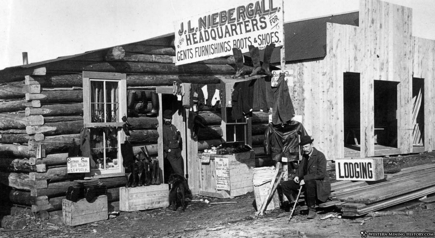 J.L. Niebergall, Headquarters for Gents Furnishings Boots & Shoes. Cripple Creek, Colorado 1890s