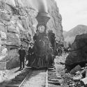 Denver Leadville & Gunnison Railroad on the old South Park Line - Locomotive No. 197 and excursion passenger train at Palisades above Pitkin, Colorado ca. 1895