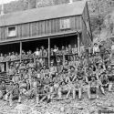 Miners at the Smuggler mine boarding house