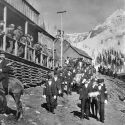Funeral procession for Superintendent Charles M. Baker at the Smuggler Mine 1902