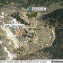 Summitville historic mines displayed over satelite image of modern open-pit mine