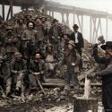 Miners at the Blue Gravel Mine - Yreka, California ca. 1890 (colorized image)