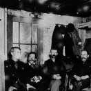 Men in a cabin on Dumas St., Monte Cristo, Washington, 1895