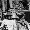 Miner at hydraulic mine near Oro Fino, California ca1910