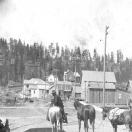 Pack string in front of Blue Mountain Lumber Co. store. - Sumpter