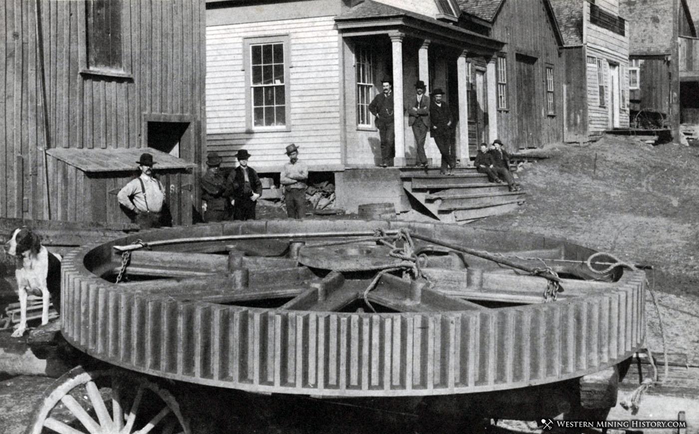 Bull gear leaving the foundry at Virginia City, Nevada ca. 1880s
