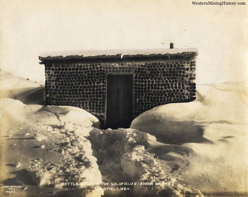 Bottle house in deep snow at Goldfield, Nevada 1906