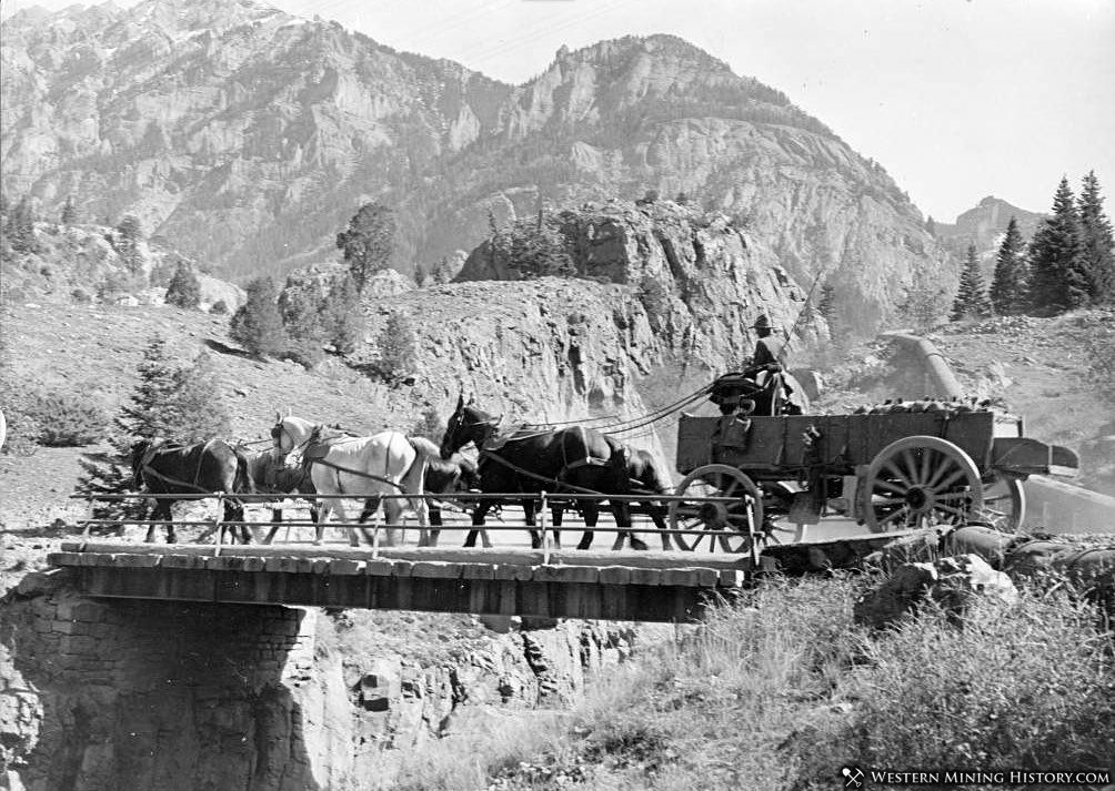 Highgrade ore from the Camp Bird mine being hauled by wagon to Ouray