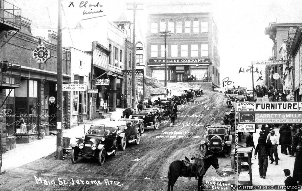 Early view of Main Street in Jerome, Arizona