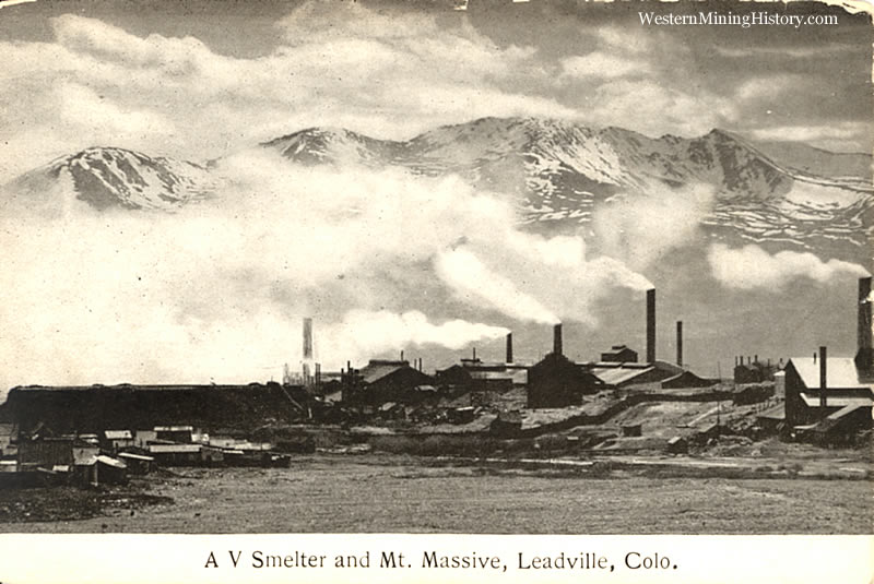 A.V. Smelter with Mt. Massive in the background - Leadville