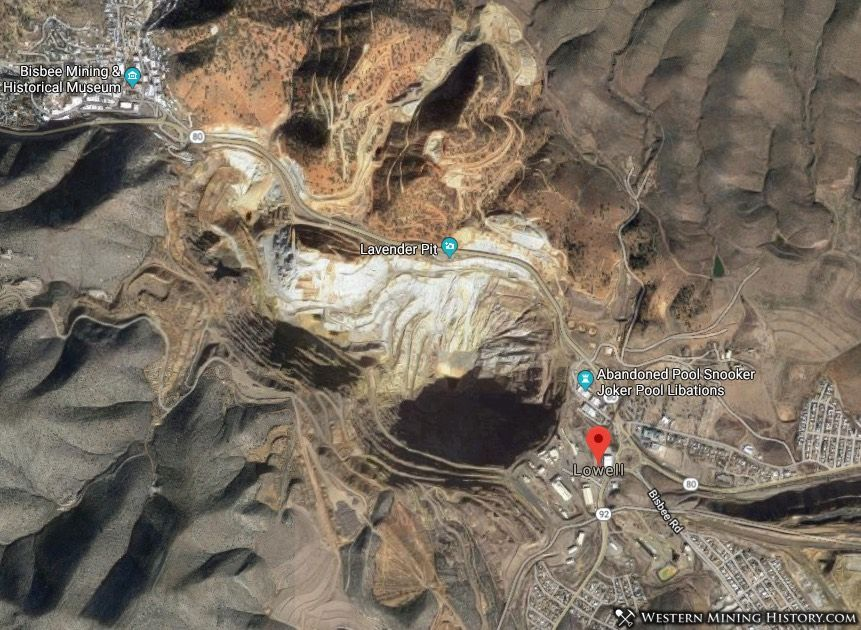 Satelite view shows Lowell's location relative to the Lavendar open pit mine.