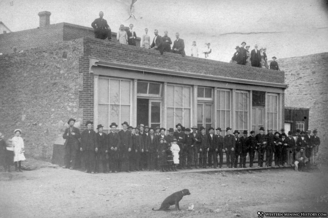 Dog photobombs a scene from Nevadaville, Colorado 1883