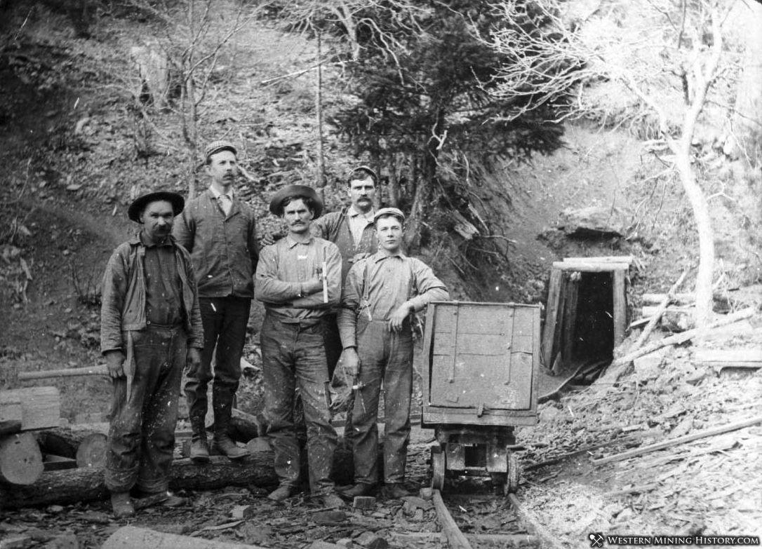 Miners and ore cart at unidentified mine near Oro Fino California ca. 1900