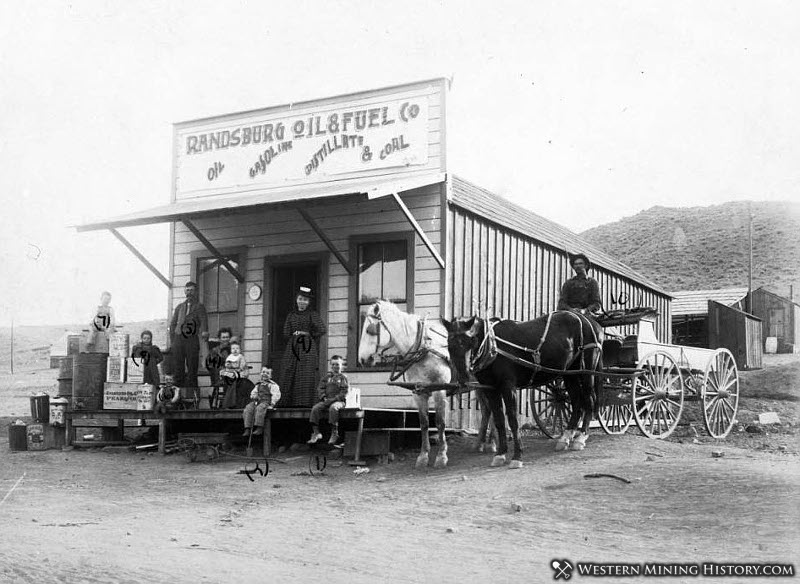 Members of the Morgan family in front of the Randsburg Oil and Fuel Company building 1898