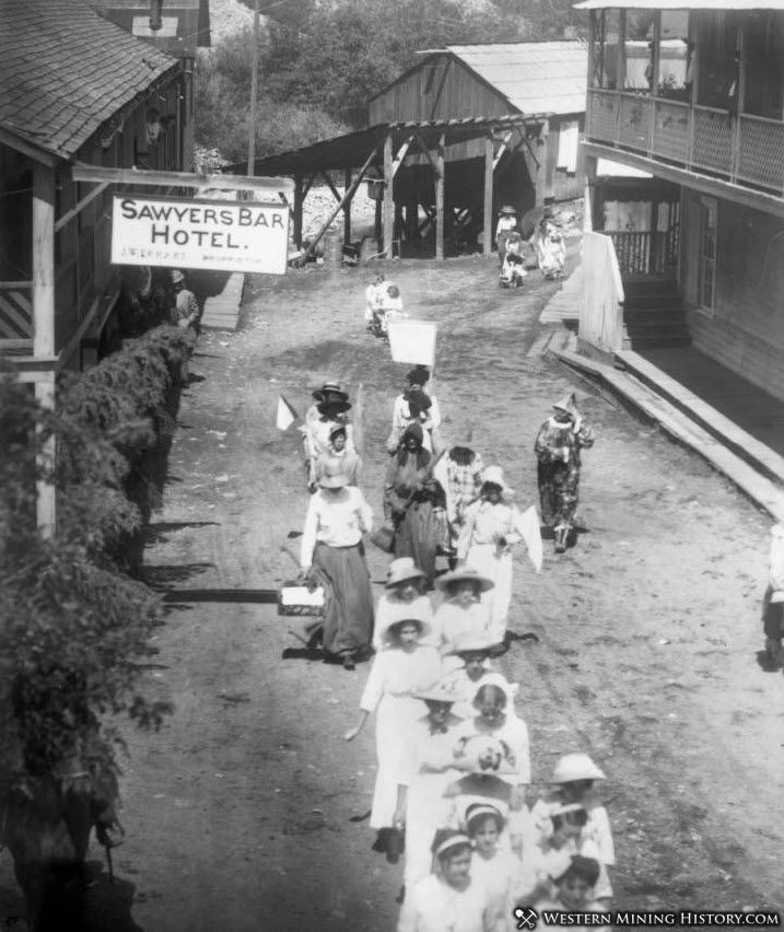 Fourth of July parade in Sawyers Bar ca1910