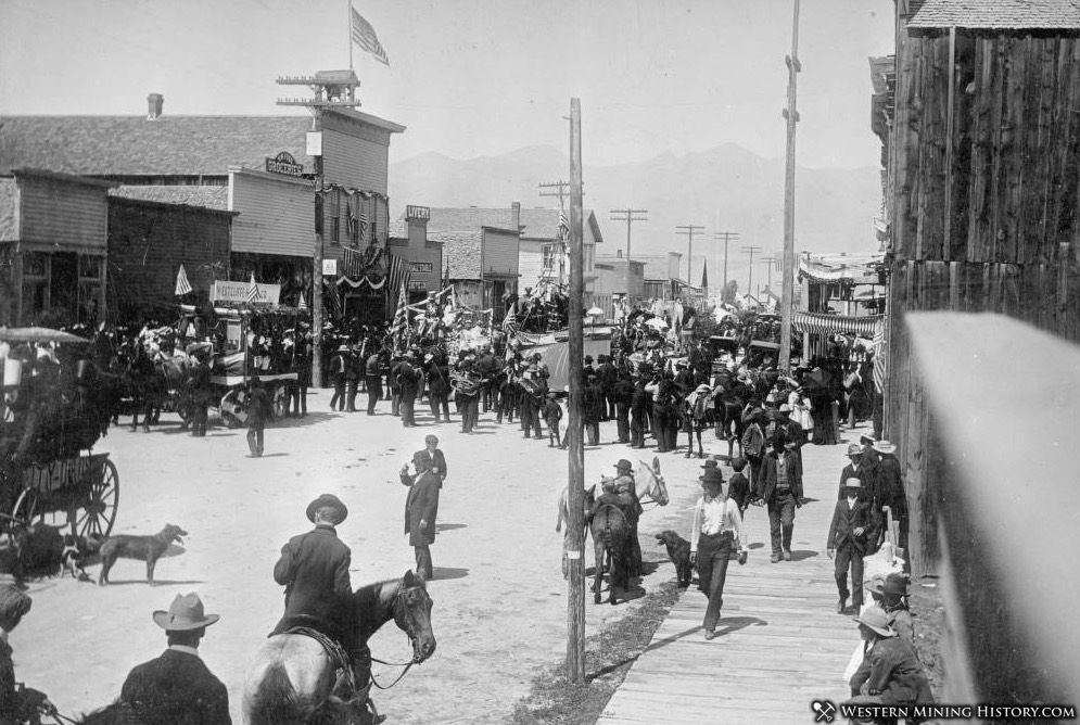 Parade in Silver Cliff, Colorado ca. 1890