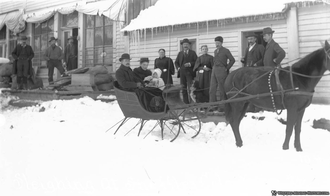 Dog with his family in a horse drawn-sleigh at Sneffels, Colorado 1896