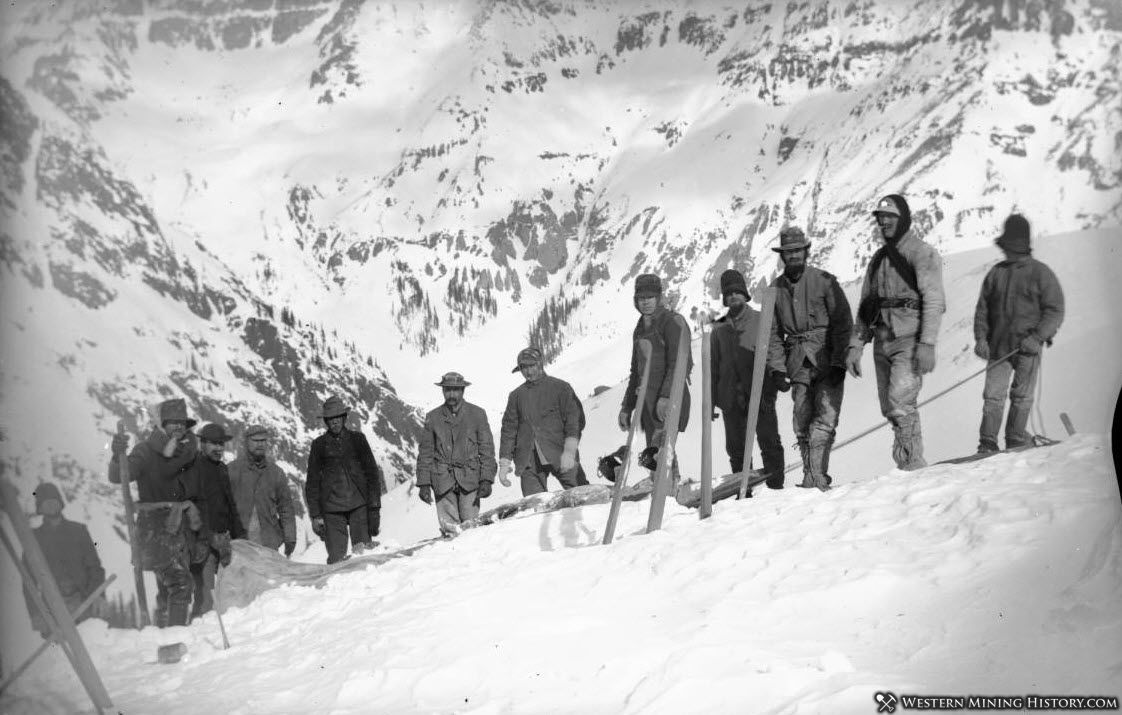 Miner killed in an avalanche near Sneffels is hauled out on sled