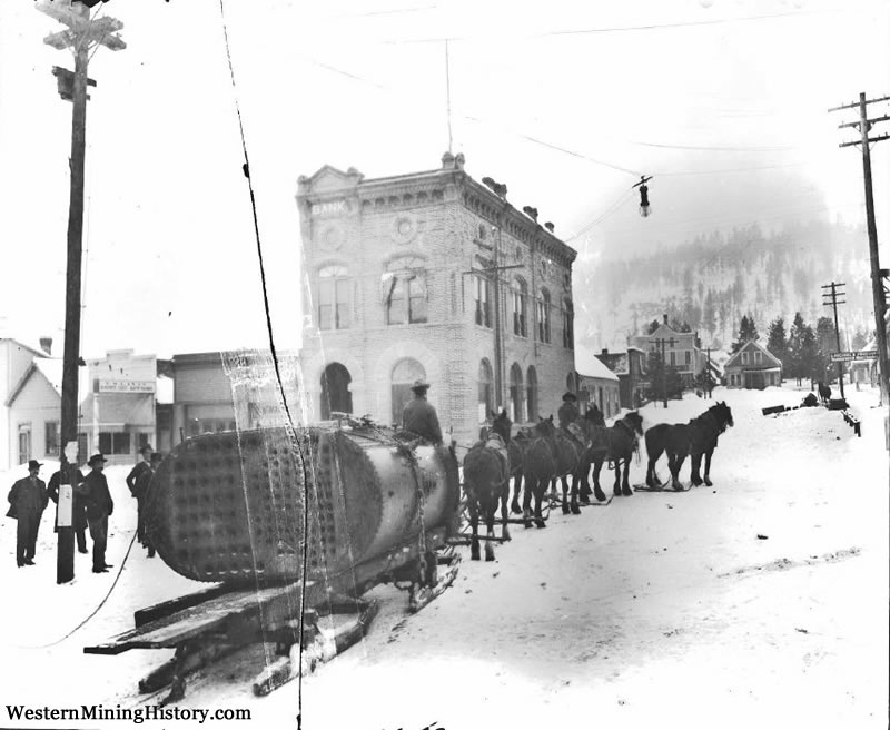 Boiler delivered via sleigh in Sumpter ca. 1900