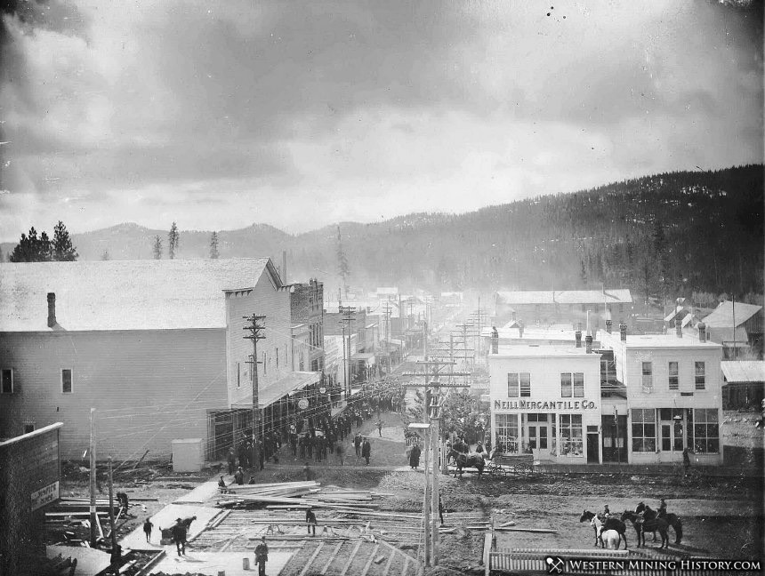 Beginning of Plank Street Construction in Sumpter, Oregon 1903