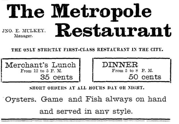 Metropole Restaurant Advertisement - Telluride, Colorado 1896