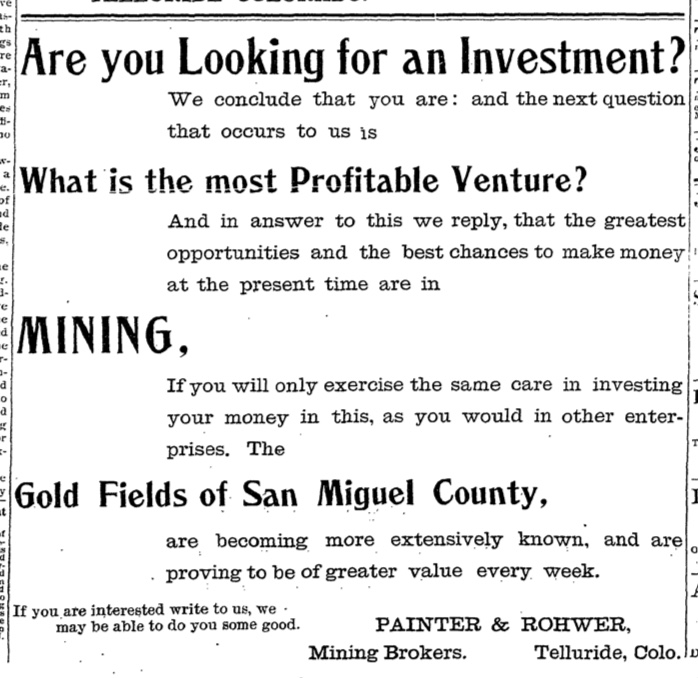 Telluride investment opportunity 1896
