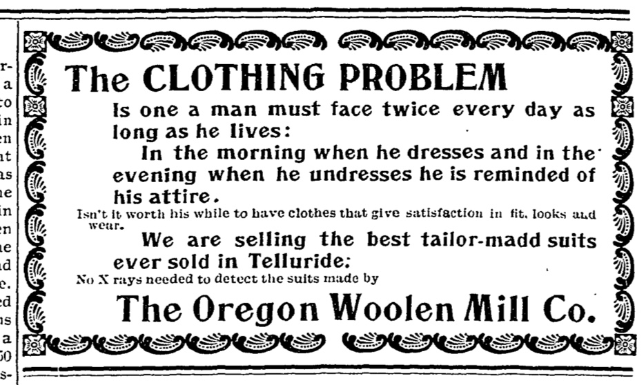 Oregon Woolen Mill advertisement