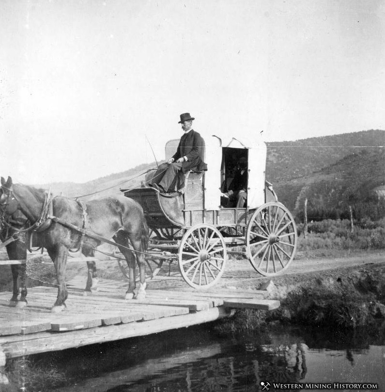 Stagecoach running between Rifle and Meeker, Colorado 1890s