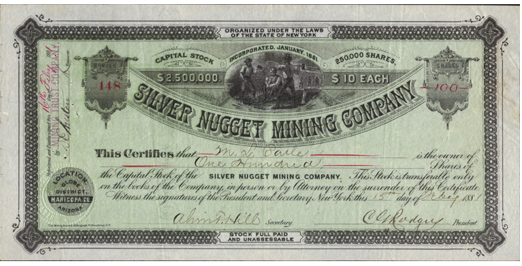 Silver Nugget Mine stock certificate