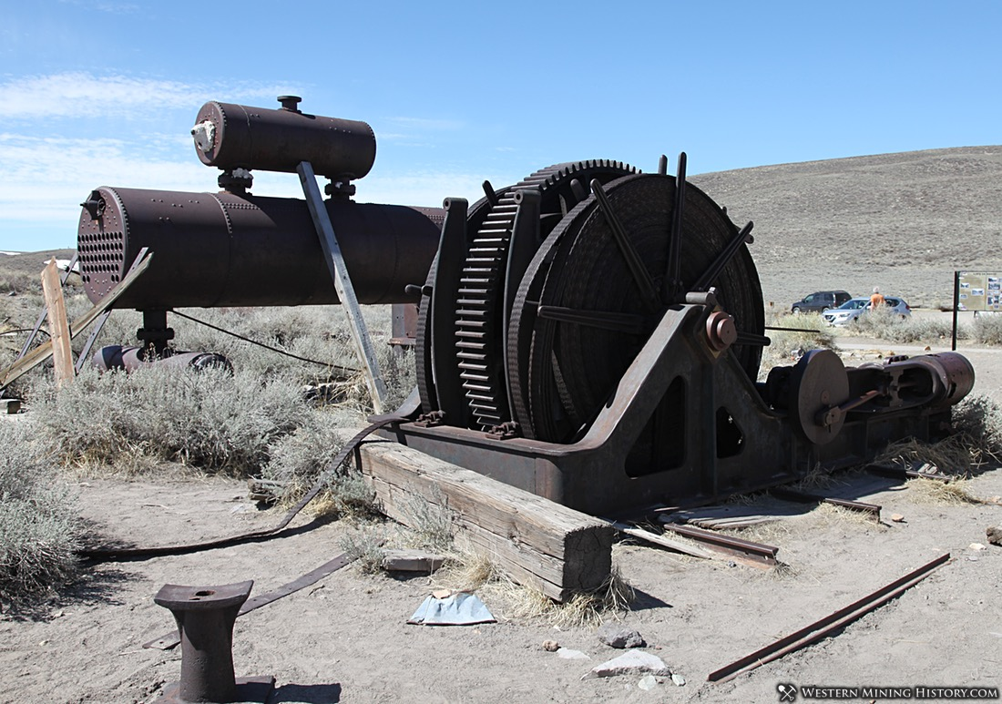 Hoist and boiler at Bodie State Historic Park