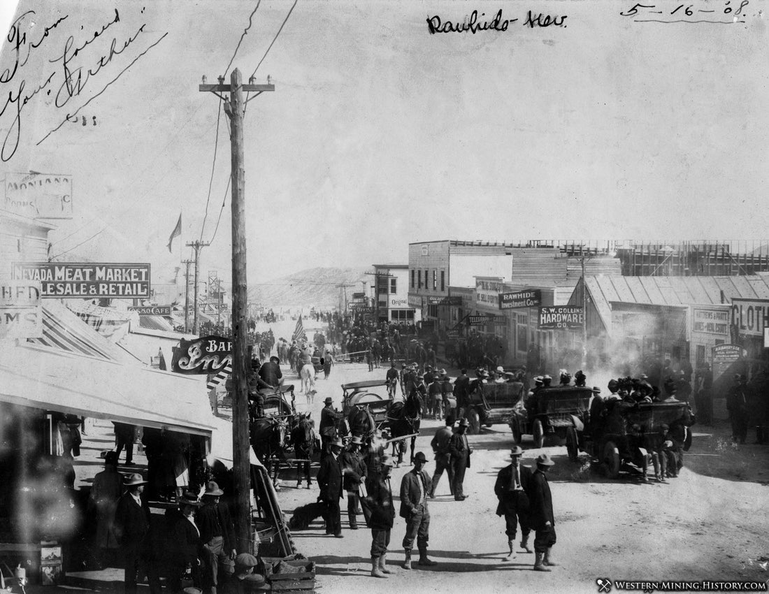 The rush to Rawhide, Nevada is on in 1908