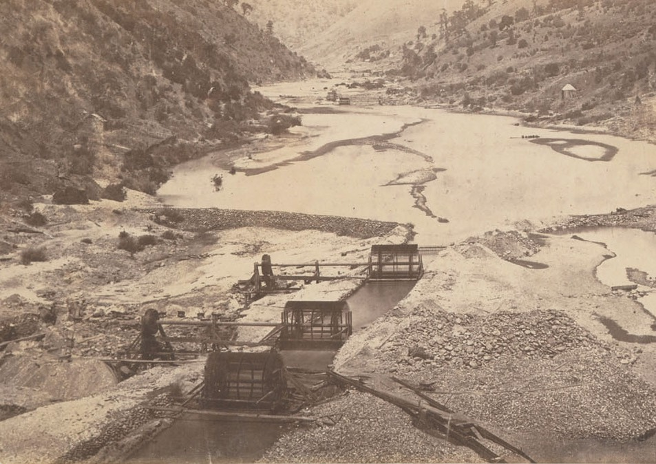 Middle Fork of the American River being diverted in an elaborate placer mining operation in 1858