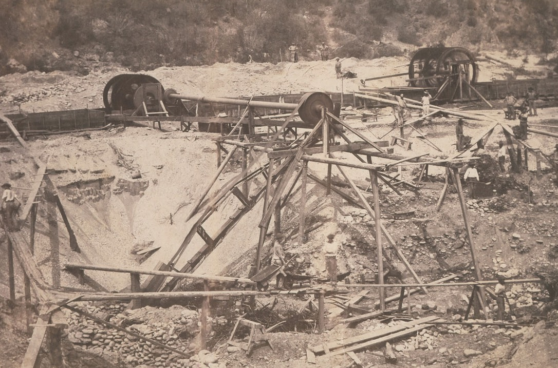 Elaborate placer mining operation on Maine Bar Middle Fork of the American River in 1858
