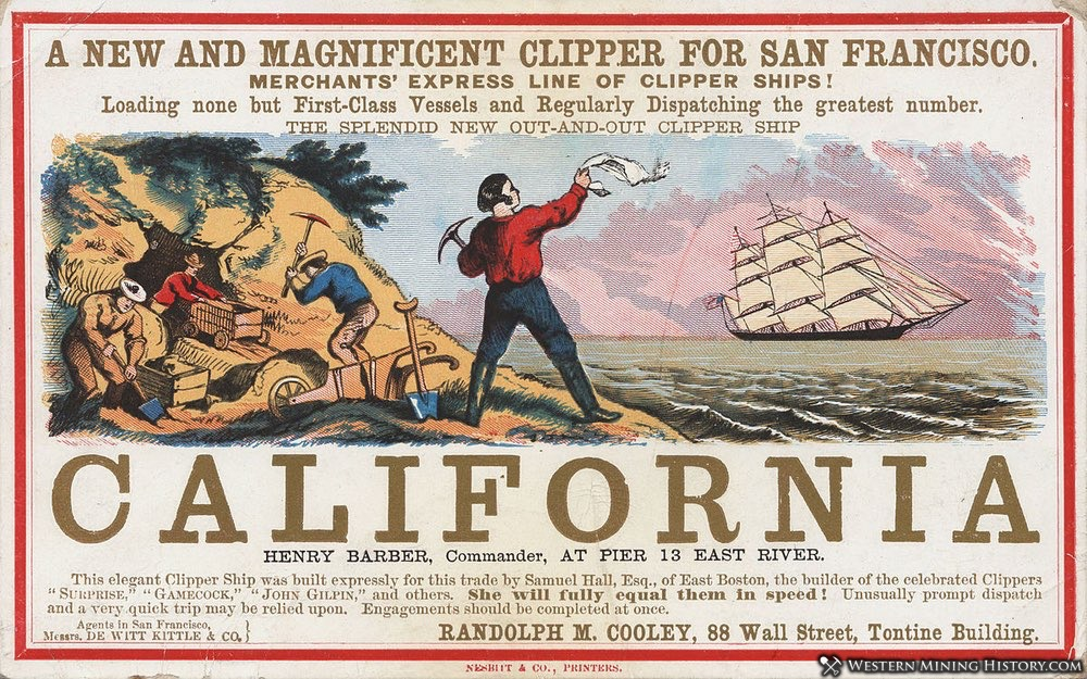 Circa 1850 advertisement for transportation by merchant ship to the California gold fields