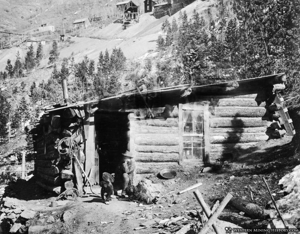 Miner and dogs at his Colorado cabin
