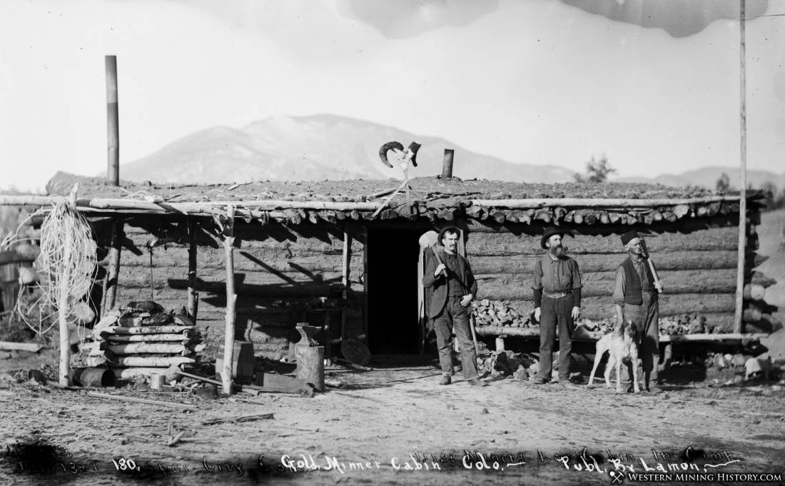 Gold Miners at their Jasper, Colorado cabin in 1897