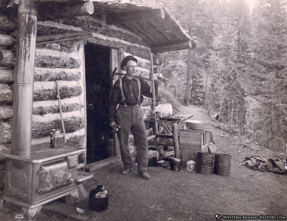 A prospector at his cabin in the Pike Peak region of Colorado