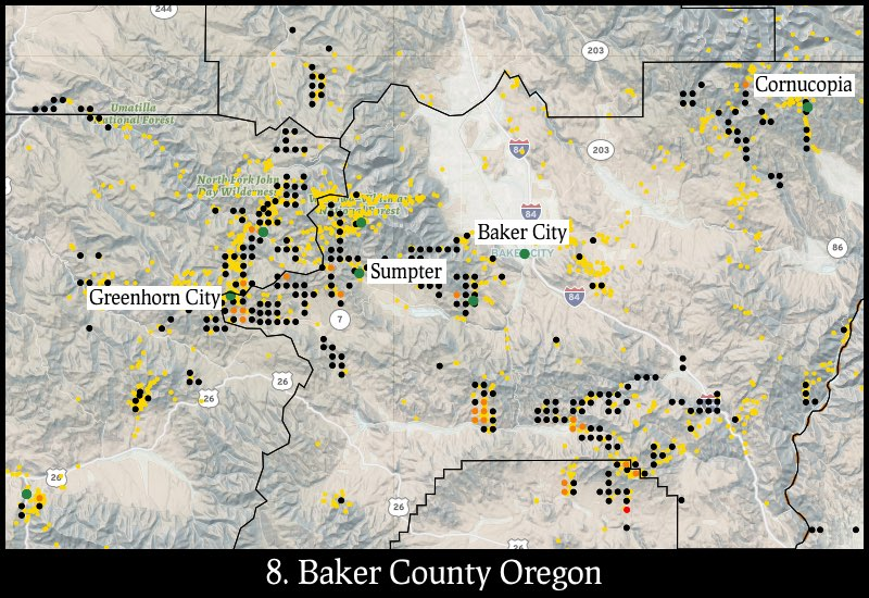 Distribution of gold mines and placer claims in Baker County, Oregon