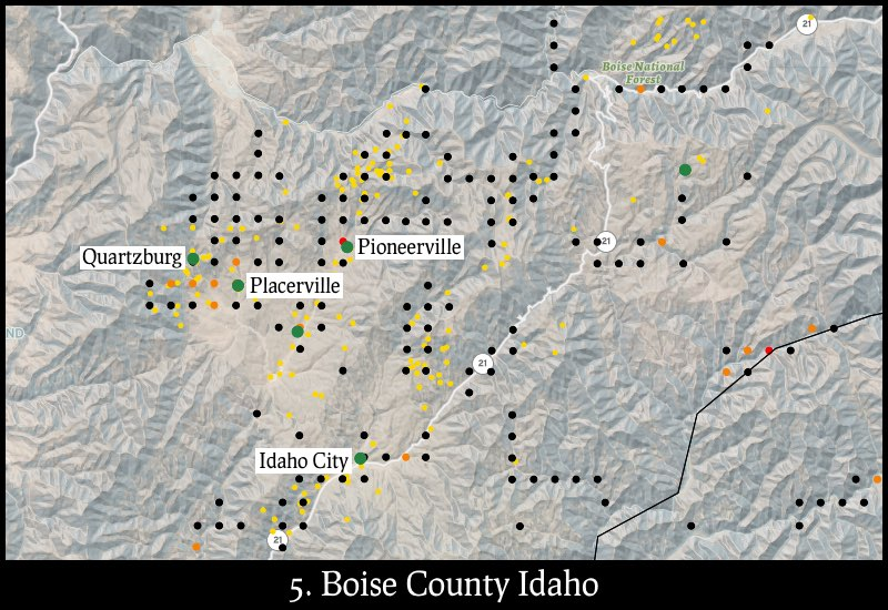 Distribution of gold mines and placer claims in Boise County, Idaho