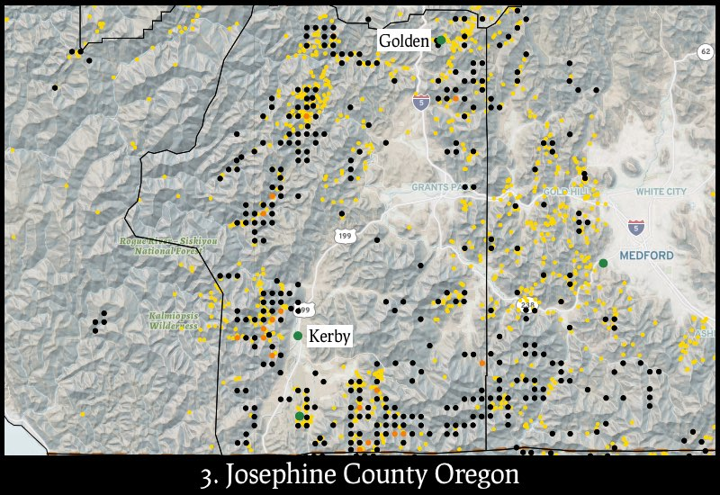 Distribution of gold mines and placer claims in Josephine County, Oregon