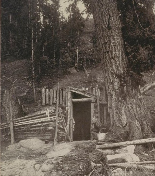 Miners dugout in the Salmon River region of Idaho 1905