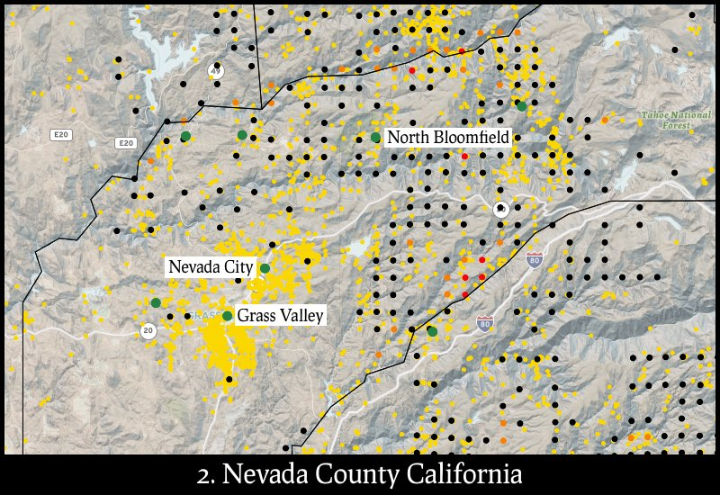 Distribution of gold mines and placer claims in Nevada County, California