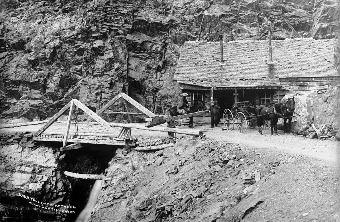 Toll gate on Bear Creek Falls - Otto Mears toll road ca. 1890