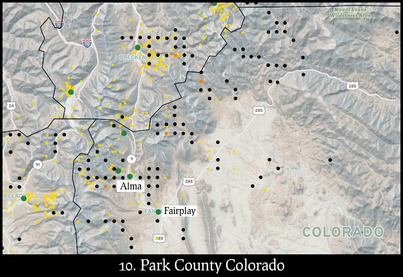 Distribution of gold mines and placer claims in Park County, Colorado