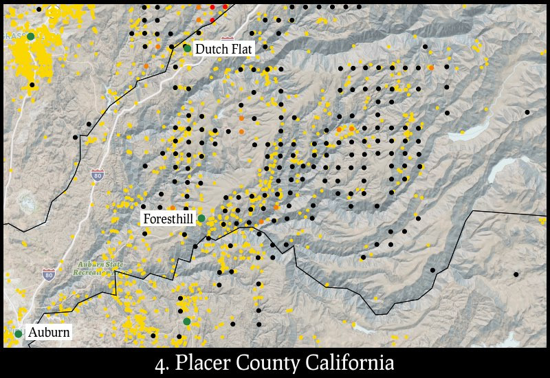 Distribution of gold mines and placer claims in Placer County, California